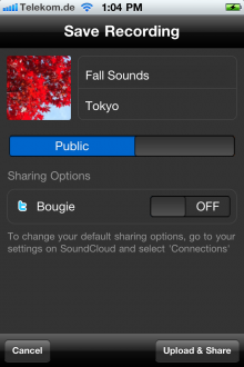 Saving recording in iPhone app
