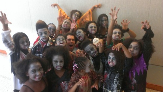 Backstage at the Future of Music Coalition's Annual Policy Summit with the zombie dancers from Savoy Elementary